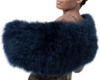 Promo Sale: Dark Blue Marabou Wrap /Luxury marabou feather, natural silk lining/ Sizes  XS-2X