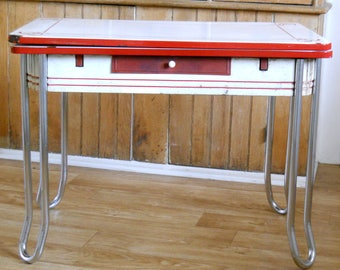 Vintage Enamel Top Table • Red and White Metal Chrome and Enamel Table • Kitchen Table Slide Out Leaves