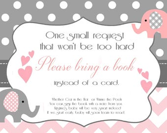 Elephant Baby Shower Bring a Book Insert Card / Printable File