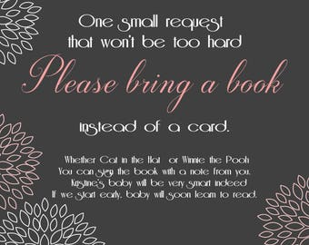 Bring a Book Baby Shower, Printable Photo Card, Digital File,