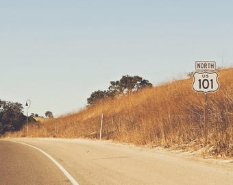 SALE travel photography, California 101 North, Pacific Coast, mustard yellow, landscape, modern decor, freeway sign, boys room, orange, road