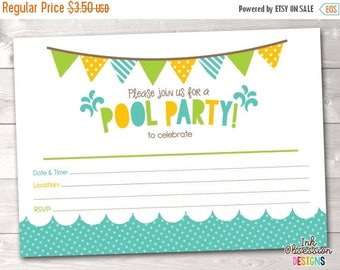 35% OFF SALE Pool Party Printable Invitation Fill In Blank Invite Blue Yellow & Green Birthday Party or Pool Party Digital Design INSTANT Do