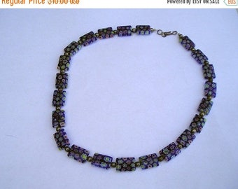 ON SALE Pretty Italian Murano Glass Flower Bead Necklace