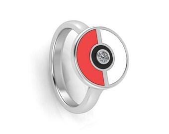 Pokeball Ring, Pokeball Diamond Ring, Pokeball Rings in Sterling Silver and Enamel, Pokemon Go Ring