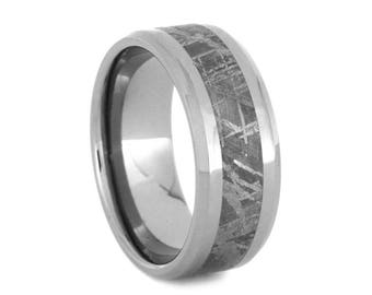 Gibeon Meteorite Wedding Band, Beveled Titanium Ring With Polished Finish, Men's Wedding Jewelry