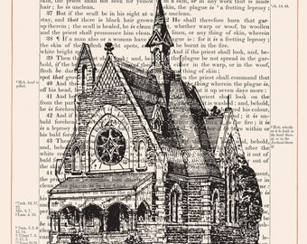 Vintage Church on 1883 Bible Paper