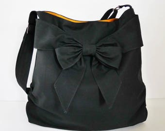 Sale - Black Canvas Bag, tote, handbag, messenger bag, purse, bow, shoulder bag, crossbody bag, unique - JESSICA