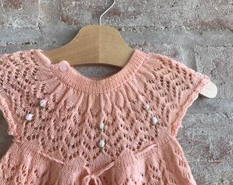 Vintage lace rosebud baby dress