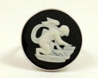 Vintage Wedgwood Ring Sterling Silver Black Jasper Cameo Ring Cherub Cupid Sharpening Arrow Wedgewood Ring US Size 7 UK Size N 1/2