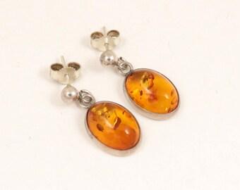 Vintage Baltic Amber Drop Earrings, 925 Sterling Silver Post Earrings