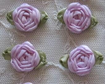 12 pc Set HANDMADE Vintage Like Orchid Lavender Ribbon Rosette Spider Rose Flower Applique Antique Doll Dog Baby Hair Bow