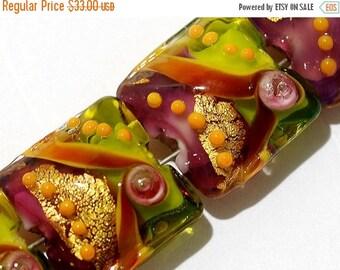 ON SALE 35% OFF Lampwork Glass Bead Set - Four Carolina Parakeet Pillow Beads 11007014