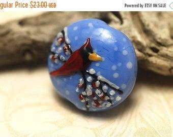 ON SALE 35% OFF Winter Red Cardinal Lentil Focal Bead - Handmade Glass Lampwork Bead 11833202