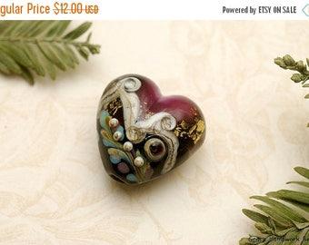 ON SALE 30% off Amethyst Treasure Heart Focal Bead - Handmade Glass Lampwork Bead -11818505
