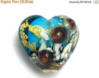 ON SALE 30% off Aqua Treasure Heart Focal Bead - Handmade Glass Lampwork Bead 11819805 - Gold Foil