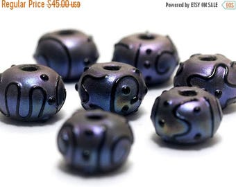 ON SALE 30% off Handmade Glass Lampwork Bead Set - Seven Purple Pearl Surface Rondelle Beads 11204701