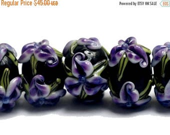 ON SALE 30% off NEW! Handmade Glass Lampwork Bead Set - 10205701 Seven Purple Iris Rondelle Beads