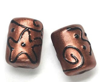 ON SALE 30% off Glass Lampwork Bead Sets - Six Copper Pearl Surface w/Black Mini Kalera Beads 11204403