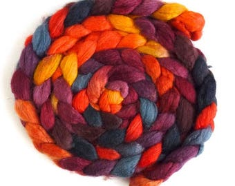 Blueface Leicester/ Tussah Silk Roving (Top) - Handpainted Spinning or Felting Fiber, Sloss Furnace