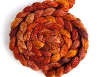 Merino/ Silk Roving (Top) - Handpainted Spinning or Felting Fiber, Orange and Bright