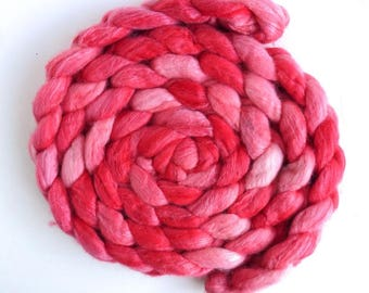 SALE: Organic Polwarth Roving - Hand Painted Spinning or Felting Fiber, Floral Pinks
