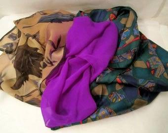 Silk Scarf Assortment, 3 Women's scarves, Women's accessories, 3 Silk Scarves lot
