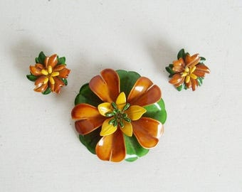 On Sale Vintage Fall Halloween enamel flower pin or brooch and earrings set brown, green and yellow
