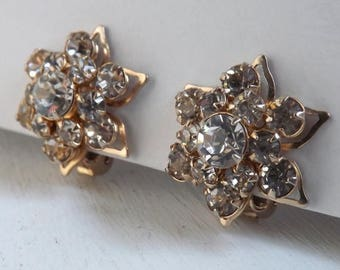 On Sale Vintage rhinestone earrings gold flower blossom earrings bridal wedding jewelry layered dimensional rhinestone earrings