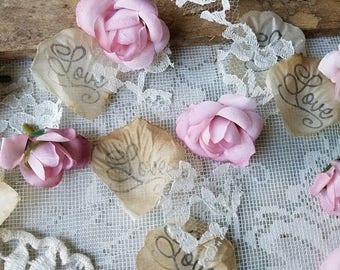 Blush Pink Wedding Decorations Lace Wedding Table Runner Bridal Shower Boho Aisle runner for Wedding Rose Petals Wedding Confetti Toss Exit