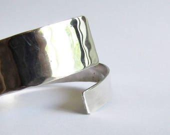 Hammered Sterling Silver Bypass Bracelet - Open Bangle Bracelet - 25th Anniversary Gift - Solid Sterling Silver Bracelet