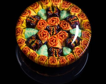 Artisan Orange Butterfly Millefiori Lampworked Flamework Glass Paperweight