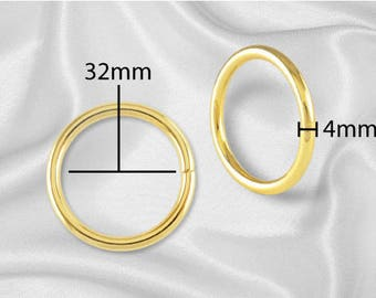 "20pcs - 1 1/4"" Metal O Rings Non Welded Gold - Free Shipping (O-RING ORG-118)"