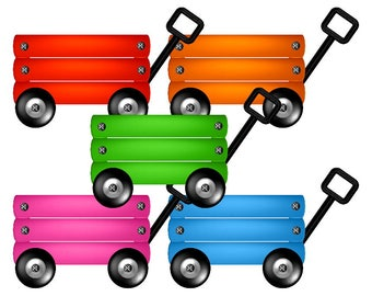 5 Wagons Clip Art, Digital & Printable Die Cuts