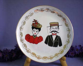 Mom And Dad Plate, Victorian Plate, Mustache Picture, Collectible Plate, Vintage Plate, Vintage Home Decor