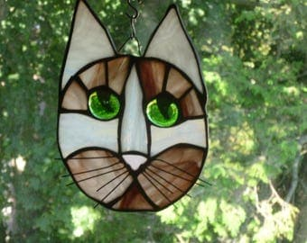 Cat Face Stained Glass Beautiful Sienna Browns and white Gorgeous green eyes
