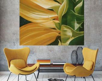 Sunflower Painting - Lobby Art Photo Realism Macro Closeup Yellow Flower Floral Wall Art Decor
