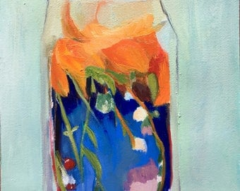 Tiger lily terrarium, original oil painting on arches paper
