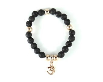 Om Bracelet--Yoga Stretch Bracelet--Black Stretch Bracelet