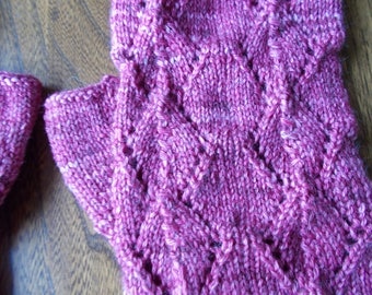 handpainted  yarn fingerless gloves, Handpainted merino/bamboo knitted lacy gloves