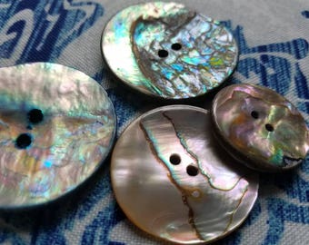Vintage Buttons beautiful  mother of pearl, 4 assorted medium to extra large iridescent designs, (July 392 17)