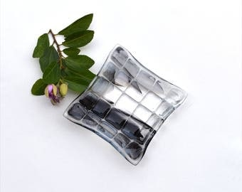 Small fused glass art plate, squares in black, white and clear