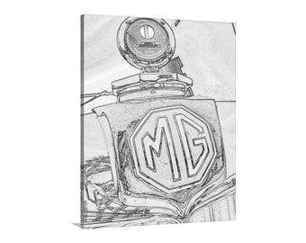 MG Car Art Photography, Automobile Art, British Car Pictures, English Car Art, Automotive Art, Car Photography, Art on Canvas, Vertical Art