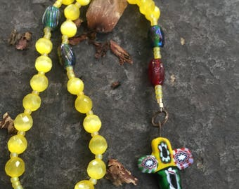 Yellow Cats Eye Glass Bead Anglican Rosary  Protestant Prayer Beads. Episcopal Rosary. Episcopal Rosary   Millifiori Cross  YCEGB517