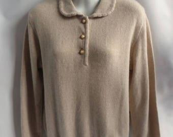 Vintage 100% Cashmere Sweater Size S Taupe Polo White Wheeler Martha 40 Chest