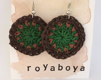 Crochet round circle green and brown earrings bridesmaid valentines day Mother's Day gift for her
