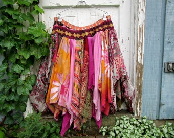 Plus Size Upcycled OOAK Pink Bohemian Gypsy Pixie Skirt// One of a Kind// Reconstructed Fairy Skirt// 1X 2X 3X// emmevielle