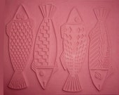 """The FOUR FISHES Intaglio Flexible Rubber Impressing and Stamping Mat, Size 7"""" by 9"""" but Can Be Cut to Create Individual Fish for Stamping"""
