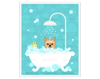 252D Dog Art Prints - Yorkshire Terrier in Bubble Bath Wall Art - Yorkie Print - Yorkshire Terrier Dog Gift - Dog Bath Prints - Dog Drawing