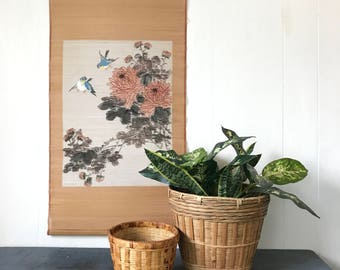 vintage woven wall hanging - Asian chrysanthemum birds painted bamboo scroll - chinoiserie boho floral - pink gray beige