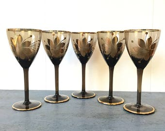 vintage smoked grey glasses - Romanian hand painted floral glasses - gold trimmed stemware - holiday table - Set of 5